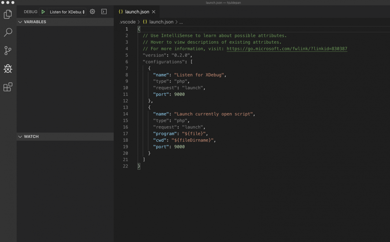 Xdebug VSCode with conf2